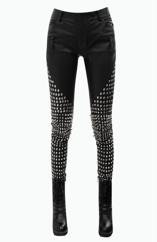 Leggings Sparkly Leggings Black Studded Silver Studs Shimmery Stretch Soft Bling